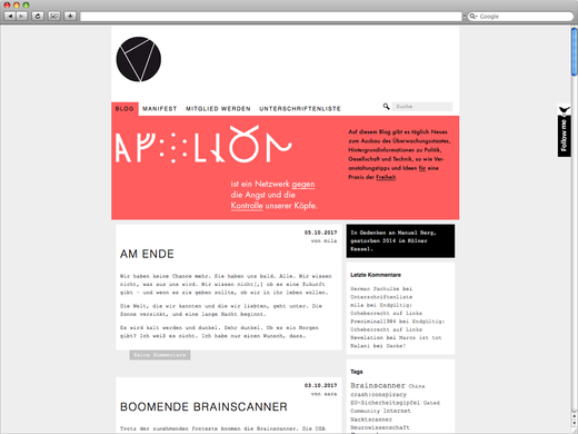 Apollon Blog für Alpha 07