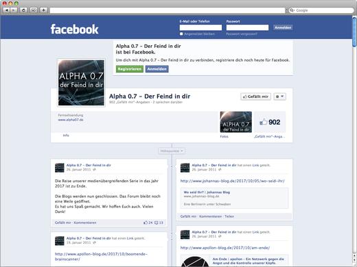 Facebook Seite für Alpha 07